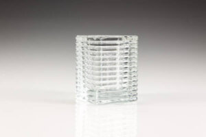 Square Ribbed Clear Glass Candle Holder