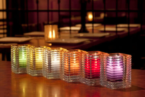 Square Ribbed Clear Glass Candle Holder (Case 6)