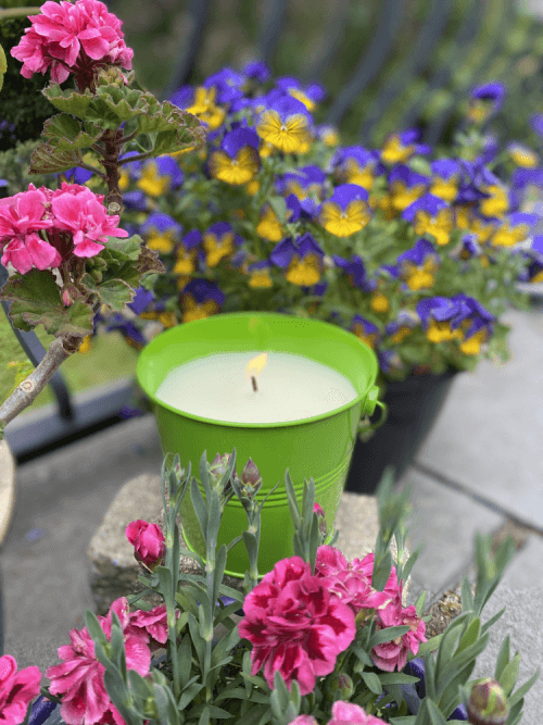 Large Citronella Painted Bucket Candle LIME