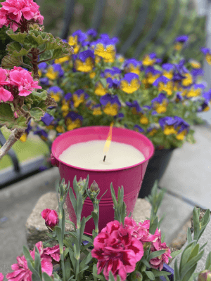 Large Citronella Painted Bucket Candle PINK