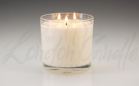 Large Three Wick Vanilla Scented Candle In Glass