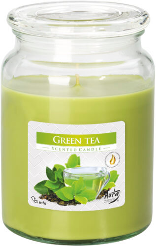 Large Scented Candle In Glass With A Lid Green Tea