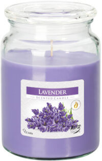 Large Scented Candle In Glass With A Lid Lavender