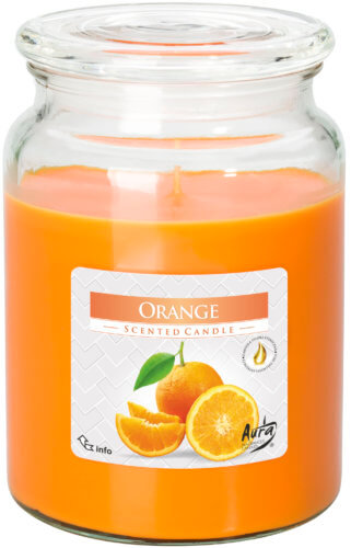 Large Scented Candle In Glass With A Lid Orange