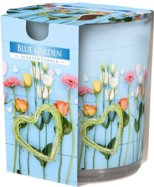 Scented Candle In Glass Blue Garden
