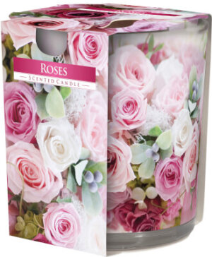 Scented Candle In Glass Roses
