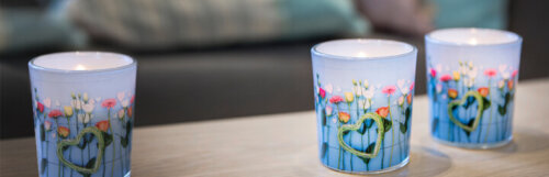 Scented Candle In Glass With Design Blue Garden