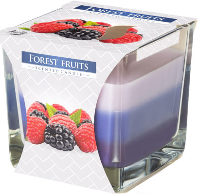 Three Colour Scented Candles In Glass Fruits Of The Forest