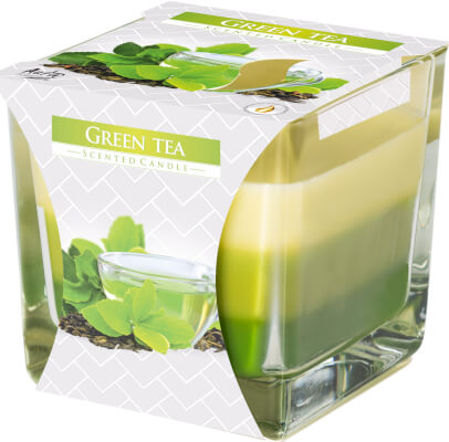 Three Colour Scented Candles In Glass Green Tea