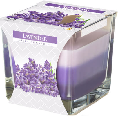 Three Colour Scented Candles In Glass Lavender