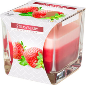 Three Colour Scented Candles In Glass Strawberry