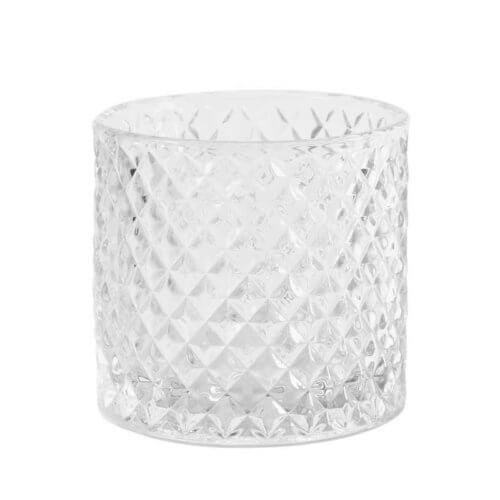 Clear Glass Diamond Tea Light Holder