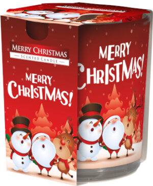 Christmas Scented Candle In Glass Merry Christmas