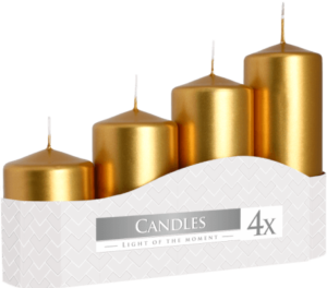 Pack 4 Gold Pillar Candles