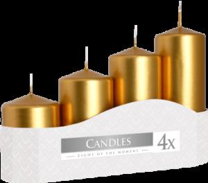 Pack 4 Gold Pillar Candles
