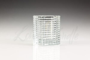 Square Ribbed Liquid Wax Candle Holder Clear