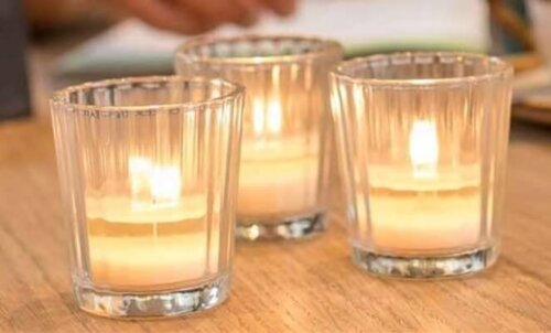 Grooved Tea Light Holder