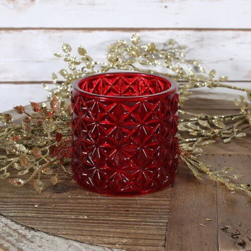 Red Geometric Tea Light Holder