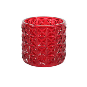 Red Geometric Tea Light Holder