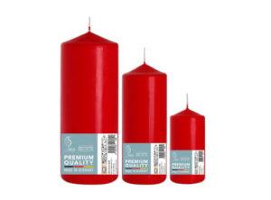Set Three Red Pillar Candles