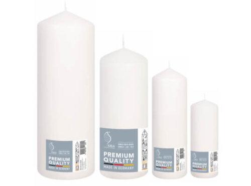Set 4 White Pillar Candles