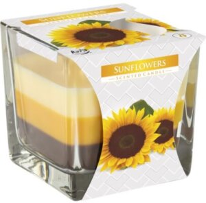Three Colour Scented Candle Glass Sunflowers