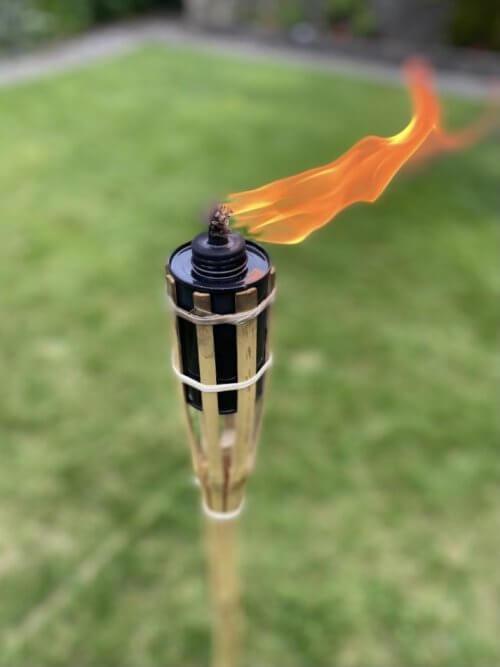 Bamboo Tiki Torch Lit Single