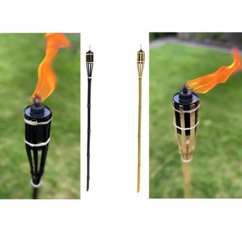 Bamboo Tiki Torch Outdoor Natural Black
