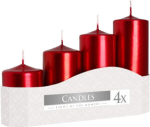 Pack 4 Glossy Red Pillar Candles